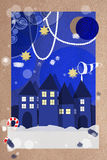 Festive Christmas village greeting card Stock Photography