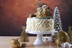 Festive Christmas white chocolate cake with cpy space. Stock Photo