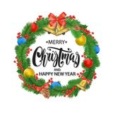 Festive Christmas wreath with balls, bells, mistletoe, lettering, tree cone and bow. Holiday card. Stock Photos