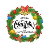 Festive Christmas wreath with balls, bells, mistletoe, tree cone and bow.. Hand drawn lettering. Isolated on white background Royalty Free Stock Photography