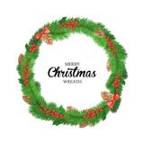 Festive Christmas wreath with balls, bells, mistletoe, tree cone and bow. Isolated on white background Royalty Free Stock Photography