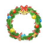 Festive Christmas wreath with balls, bells, mistletoe, tree cone and bow. Isolated on white background Royalty Free Stock Images