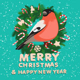 Festive christmas wreath with candy, bullfinch and wooden letter Stock Images