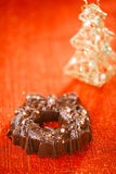Festive christmas wreath - dark chocolate with nuts and rice cri Royalty Free Stock Image