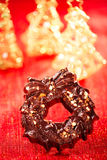 Festive christmas wreath - dark chocolate with nuts and rice cri Stock Photos