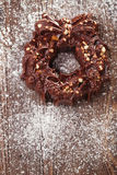 Festive christmas wreath - dark chocolate with nuts and rice cri Royalty Free Stock Photography