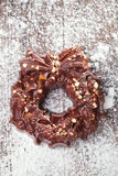 Festive christmas wreath - dark chocolate with nuts and rice cri Stock Images