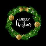 Festive Christmas wreath with gold shiny balls, beads and bow. Hand drawn holiday lettering. Stock Photos