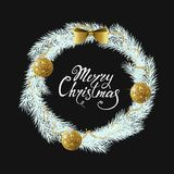 Festive Christmas wreath with gold shiny balls, beads and bow. Hand drawn holiday lettering. Royalty Free Stock Image