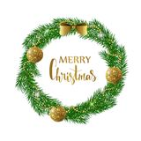 Festive Christmas wreath with gold shiny balls, beads and bow. Hand drawn holiday lettering. Royalty Free Stock Photo