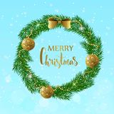 Festive Christmas wreath with gold shiny balls, beads and bow. Hand drawn holiday lettering Stock Image
