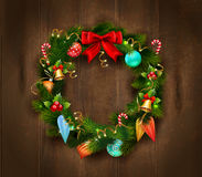 Festive Christmas Wreath Poster Stock Photos