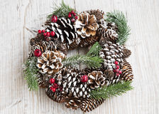 Festive Christmas Wreath on Wooden Background Stock Photos