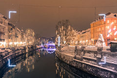 Festive city river. Royalty Free Stock Images