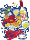 Festive Clam Bake. Stylized art of a colorful shellfish feast Stock Images