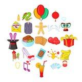 Festive clothing icons set, cartoon style. Festive clothing icons set. Cartoon set of 25 festive clothing vector icons for web isolated on white background Stock Images