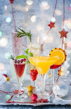 Festive cocktails. For holiday on the silver tray Stock Photo