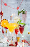 Festive cocktails. For holiday on the silver tray Royalty Free Stock Photo