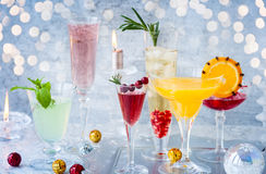 Festive cocktails. For holiday on the silver tray Stock Image