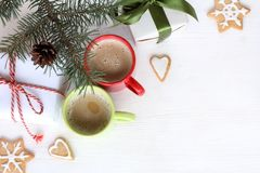 Festive coffee break in the new year eve Royalty Free Stock Photography