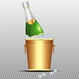 Festive cold bottle of champagne in ice bucket on transparent background vector illustration