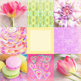 Festive collage with tulip, hand painted flowers, toy, hearts, brush strokes, macaroons and place for text in center. Royalty Free Stock Photography