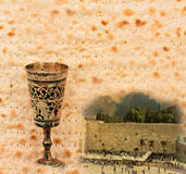 Festive collage with west wall of Jerusalem and Passover Matzoth as background Stock Photos