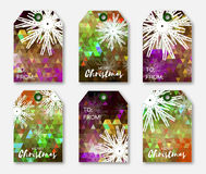 Festive collection of colorful polygonal Christmas labels with snowflakes. Ready-to-use gift tags. Xmas and New Year Set of 6 printable origami holiday label Stock Photography