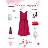 Festive collection. Fashion festive collection, outfit illustration, Items of clothing and accessories, isolated on white background, cherry color Stock Photo