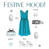 Festive collection. Fashion style, Items of clothing and accessories, festive collection, isolated on white background Royalty Free Stock Images