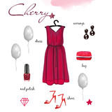 Festive collection. Fashion style, Items of clothing and accessories,  on white background, cherry color Royalty Free Stock Photography