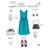 Festive collection. Illustration outfit, fashion style, Items of clothing and accessories,  on white background Stock Image