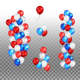 Festive color balloons set. Color holiday balloons in traditional colors - red, white, blue. Holiday ballons set on transparent background Royalty Free Stock Photo