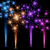 Festive color firework background. Festive color firework on black background. Vector illustration Stock Images