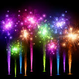 Festive color firework background. Festive color firework on black background. Vector illustration Royalty Free Stock Photos