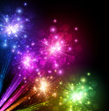 Festive color firework background. Festive color firework on black background. Vector illustration Stock Photos