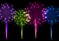 Festive color firework background. Festive color firework on black background. Vector illustration Stock Image