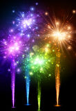 Festive color firework background. Festive color firework on black background. Vector illustration Royalty Free Stock Photography