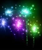 Festive color firework background. RFestive color firework on black background. Vector illustration.r Stock Image