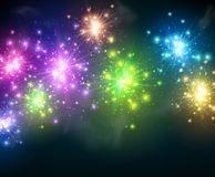 Festive color firework background. Vector illustration Royalty Free Stock Photo