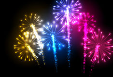 Festive color firework background. Vector illustration Stock Photo