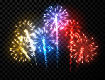 Festive color firework background. Vector illustration Stock Image