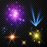 Festive color firework set. On black background. Vector illustration Royalty Free Stock Photography