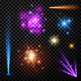 Festive color firework set. On black background. Vector illustration Stock Image