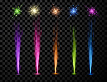 Festive color firework set. Festive color firework set  on black background. Vector illustration Stock Images