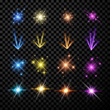 Festive color firework set. Isolated on black background. Vector illustration Royalty Free Stock Image