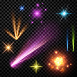 Festive color firework set. Festive color firework set isolated on black background. Vector illustration Royalty Free Stock Image