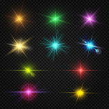 Festive color lens flare light effects, party, entertainment lights vector elements Stock Image