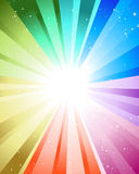 Festive color rays. Festive rays with many stars. Vector illustration Stock Photos