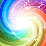 Festive color rays. Festive rays with many stars and notes. Vector illustration Stock Image